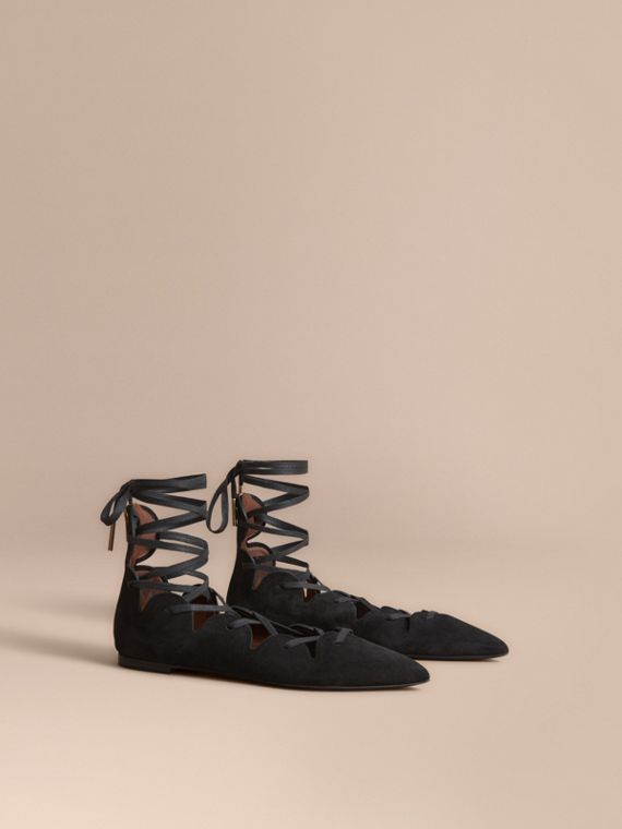 Scalloped Suede Lace-up Ballerinas in Black