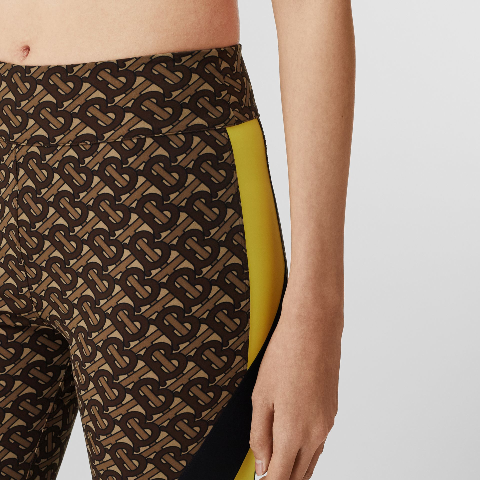 Colour Block Monogram Print Cycling Shorts in Bridle Brown - Women   Burberry United Kingdom - gallery image 1