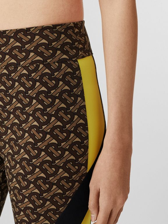 Colour Block Monogram Print Cycling Shorts in Bridle Brown - Women   Burberry United Kingdom - cell image 1