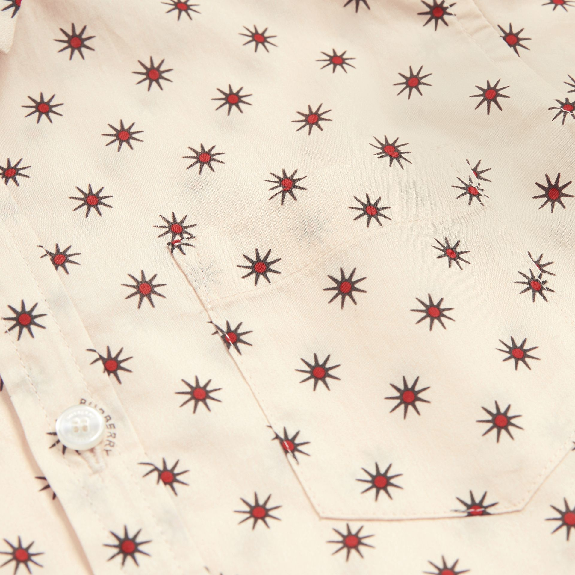 Star Print Cotton Shirt in Military Red | Burberry - gallery image 1