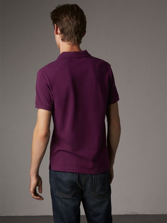 Check Placket Cotton Piqué Polo Shirt in Deep Purple Amethyst - Men | Burberry - cell image 2