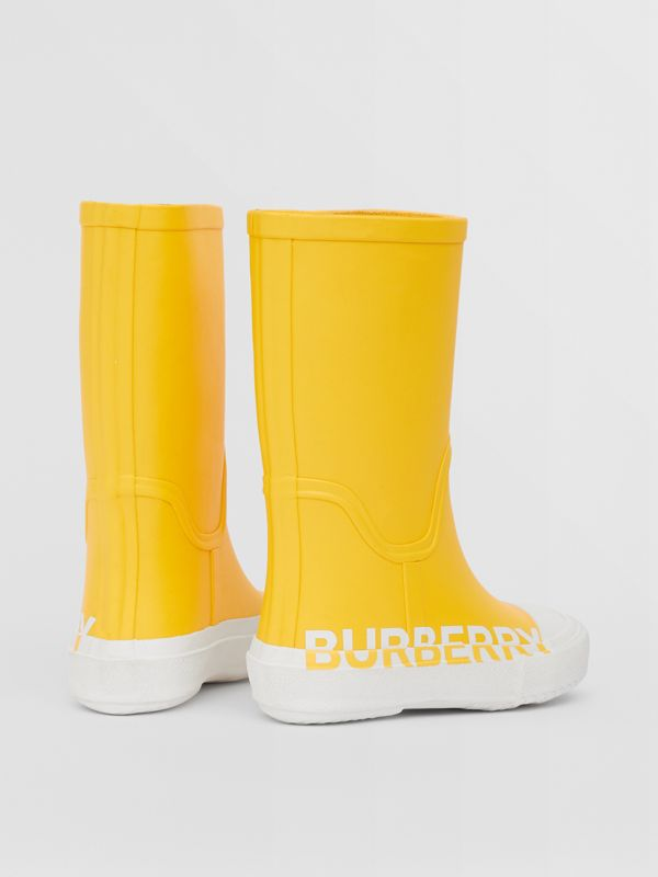 Logo Print Two-tone Rubber Rain Boots in Canary Yellow - Children | Burberry - cell image 2