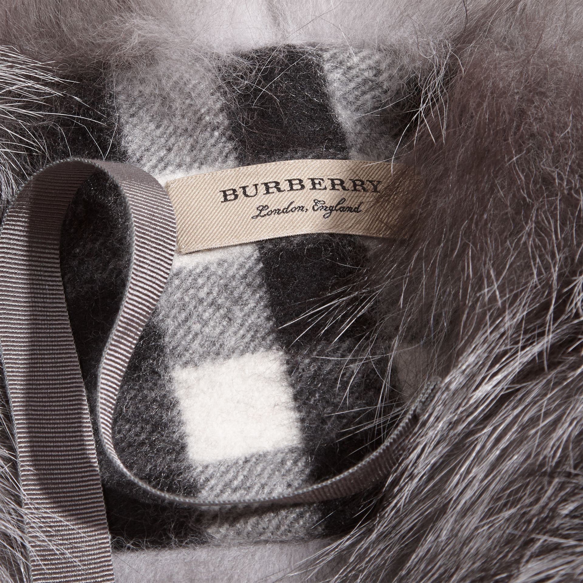 Fox Fur Collar with Check Cashmere Lining Mid Grey - gallery image 2
