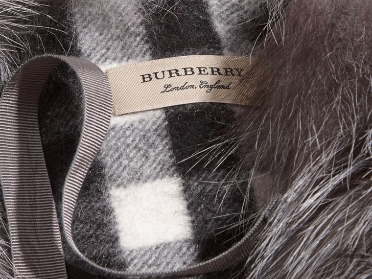 Fox Fur Collar with Check Cashmere Lining in Mid Grey - cell image 1