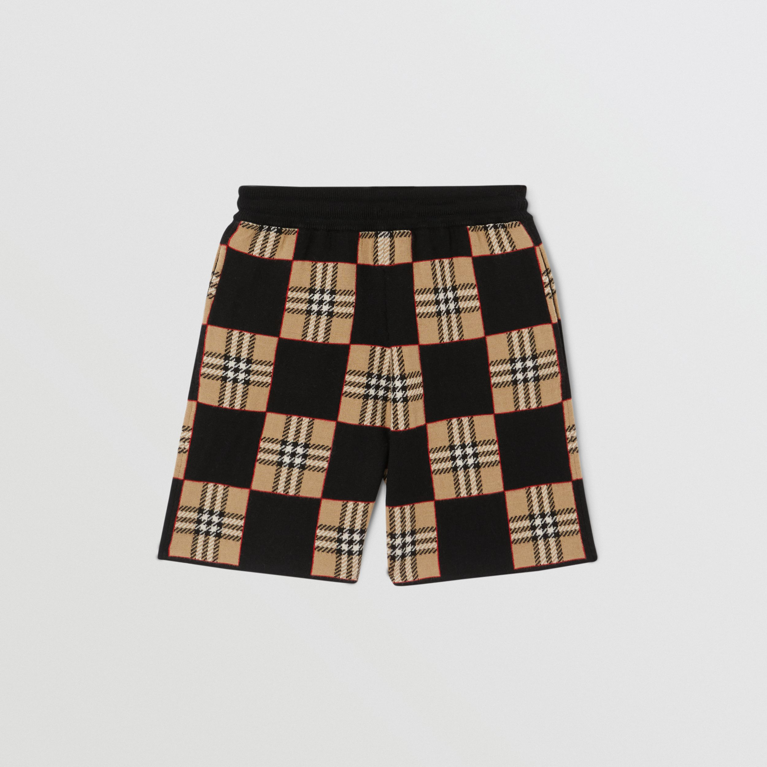 Chequer Merino Wool Jacquard Shorts in Archive Beige | Burberry - 4