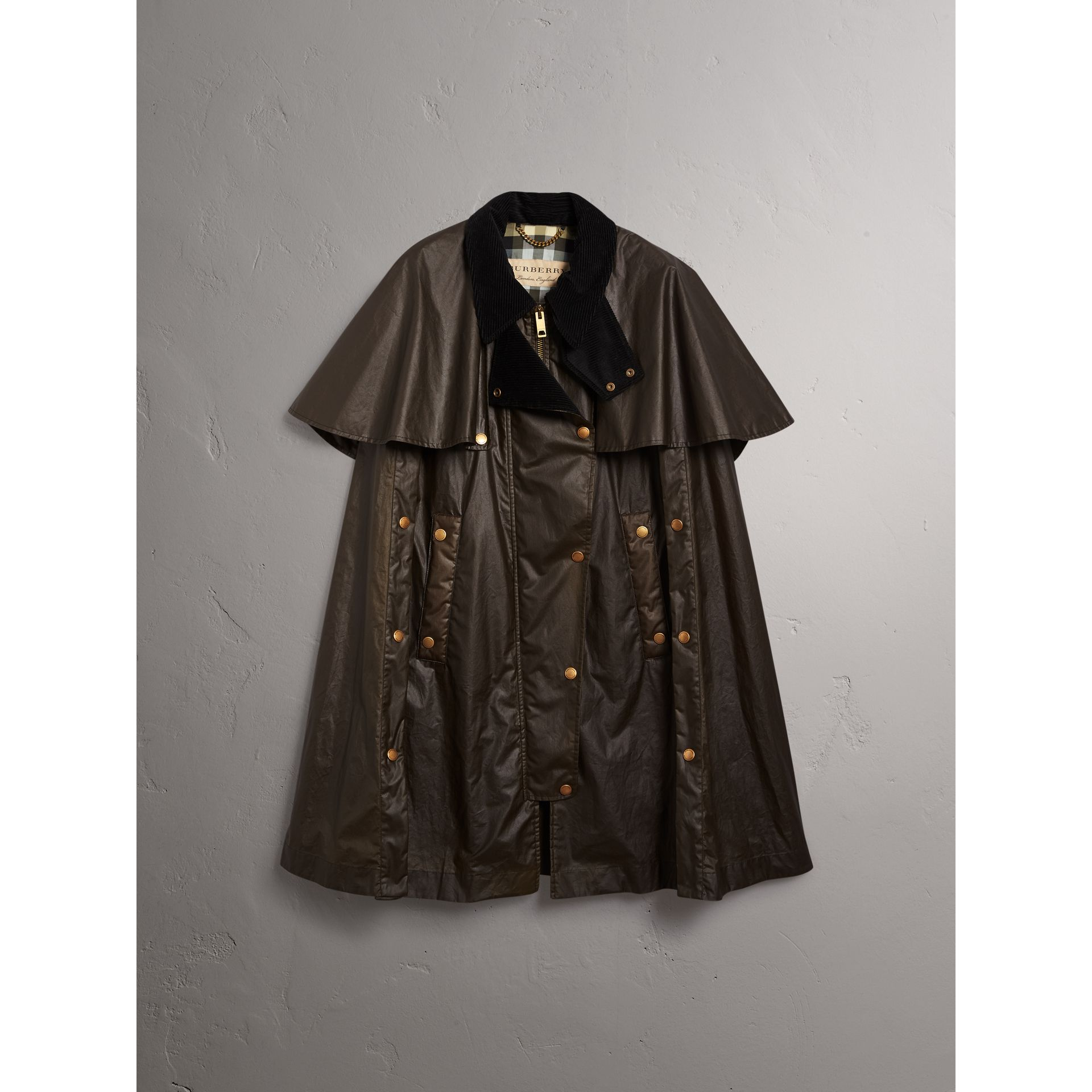 Corduroy Collar Waxed Cotton Cape in Dark Olive - Women | Burberry - gallery image 3