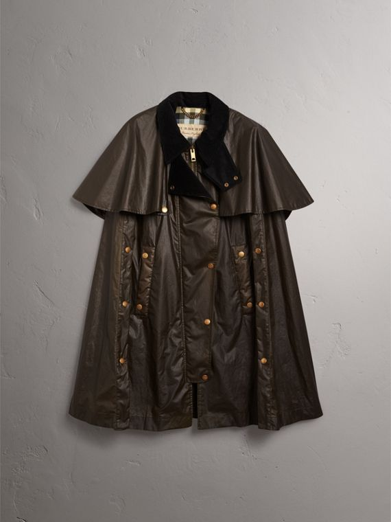 Corduroy Collar Waxed Cotton Cape in Dark Olive - Women | Burberry - cell image 3
