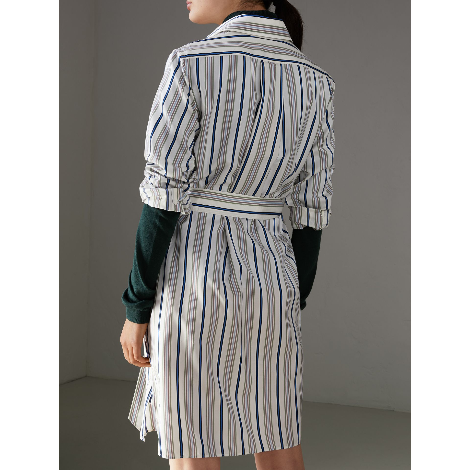 Striped Silk Shirt Dress in Off White - Women | Burberry United States - gallery image 2