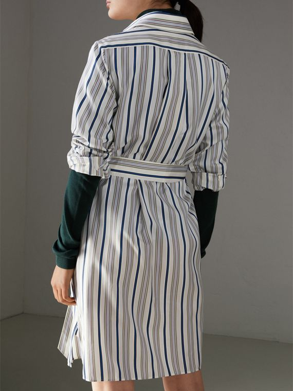 Striped Silk Shirt Dress in Off White - Women | Burberry - cell image 2