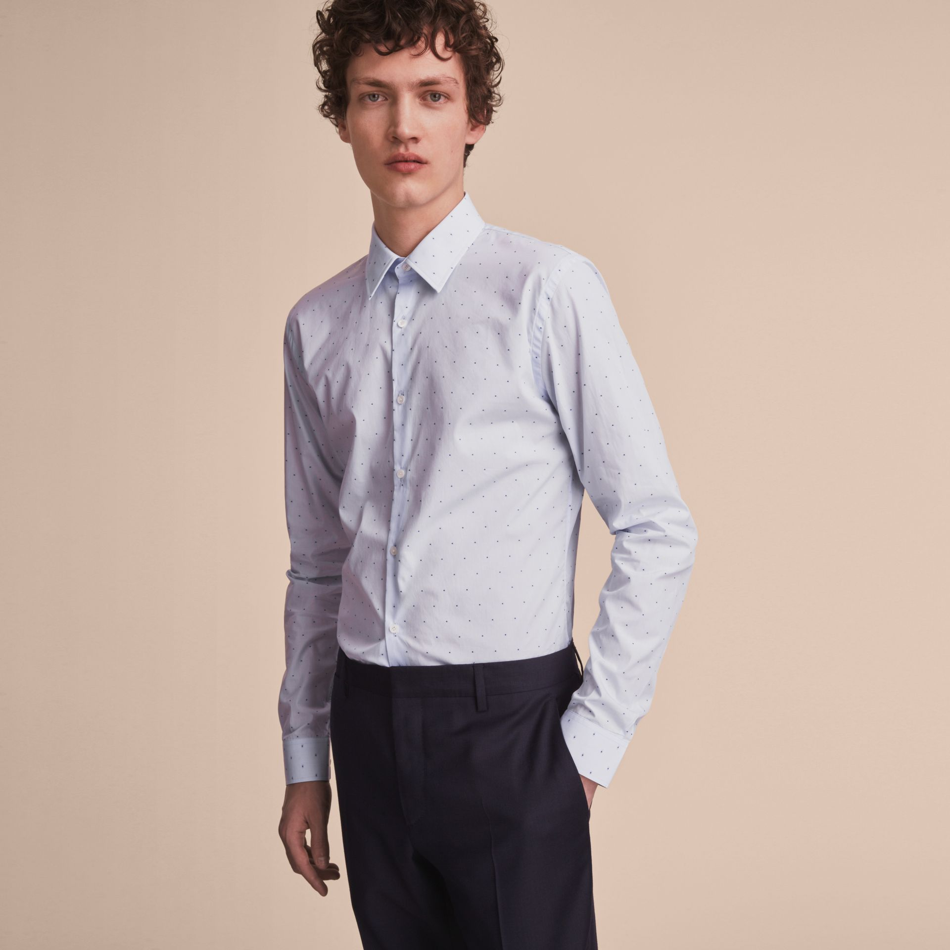 Slim Fit Dot Fil Coupé Cotton Poplin Shirt in Light Blue - Men | Burberry Canada - gallery image 6