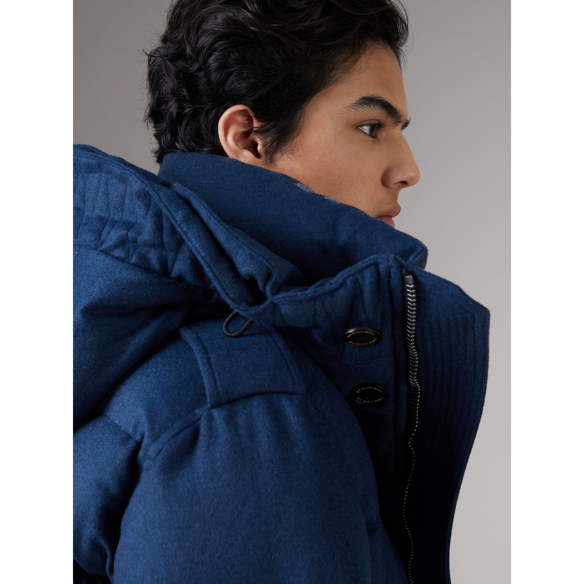 Detachable Fur Trim Cashmere Down-filled Parka in Teal Blue Melange - Men | Burberry - gallery image 4