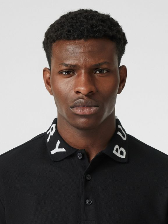 Logo Intarsia Cotton Piqué Polo Shirt in Black - Men | Burberry - cell image 1