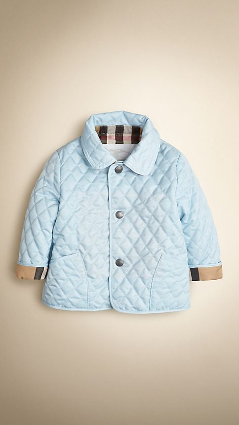 Porcelain blue Check Detail Diamond Quilted Jacket - Image 1
