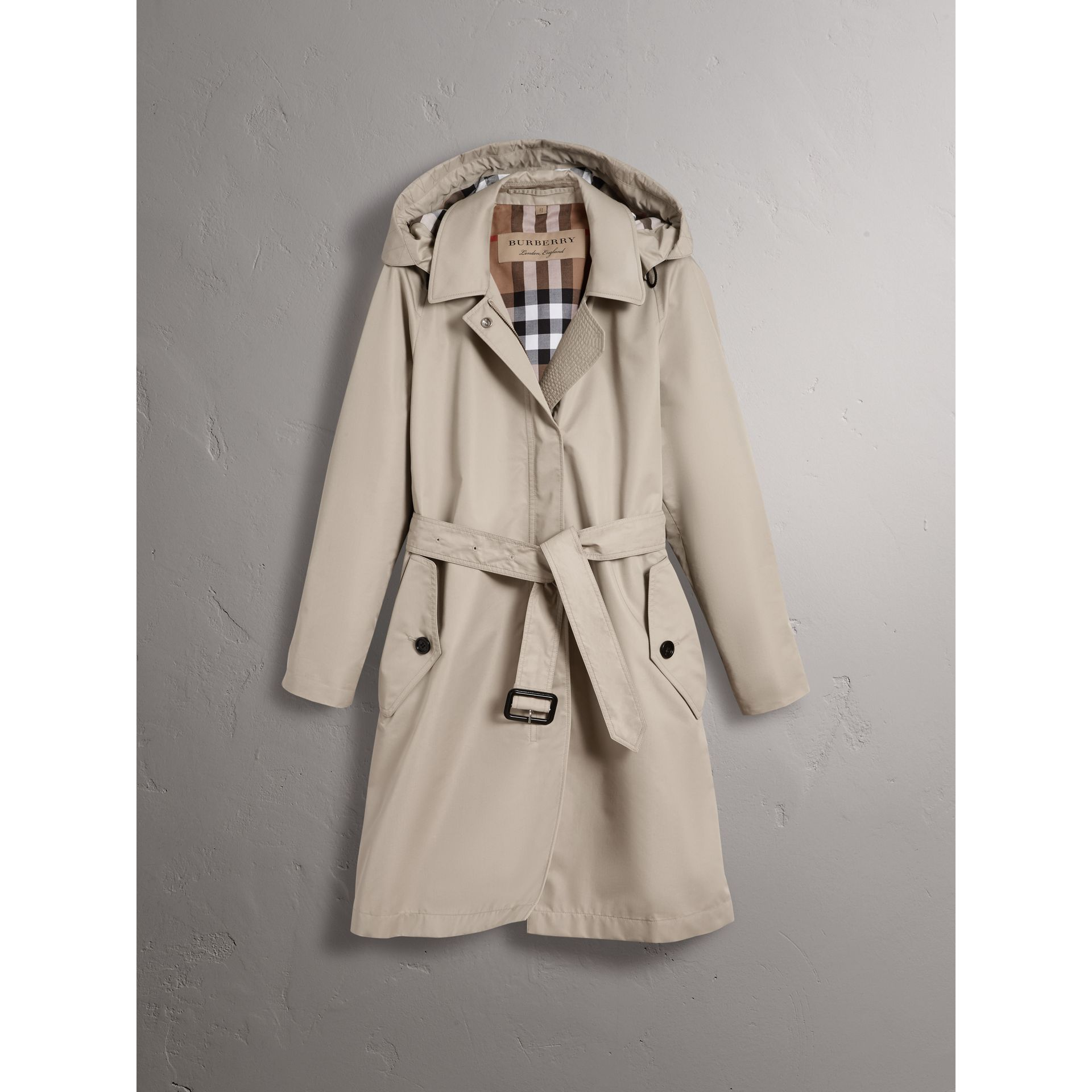 Detachable Hood Cotton Blend Car Coat in Stone - Women | Burberry - gallery image 4