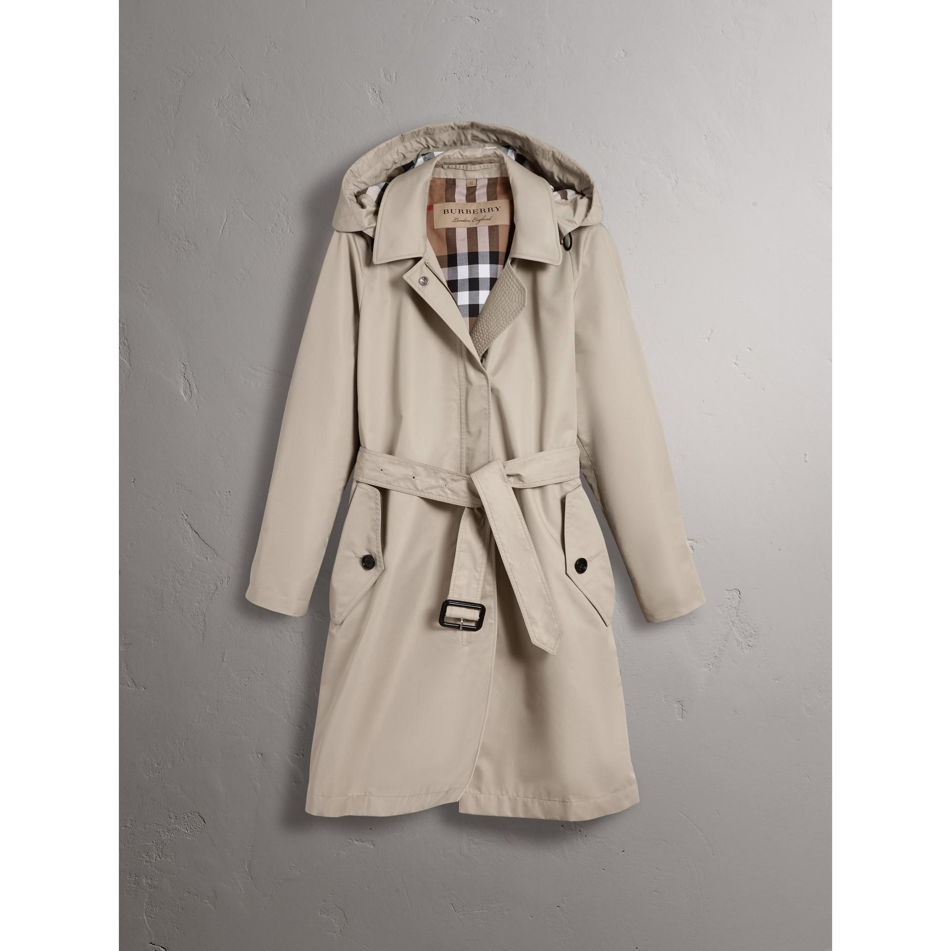 Detachable Hood Cotton Blend Car Coat in Stone - Women | Burberry - gallery image 3