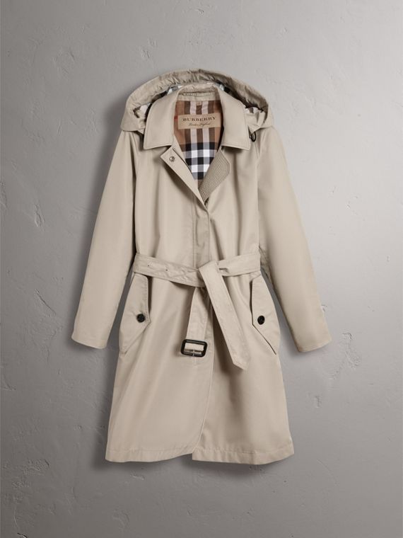Detachable Hood Cotton Blend Car Coat in Stone - Women | Burberry - cell image 3