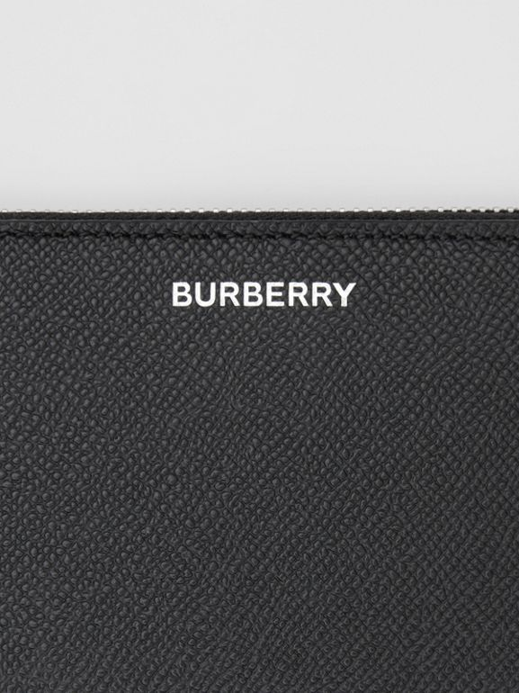 Grainy Leather Phone Wallet in Black - Men | Burberry United Kingdom - cell image 1