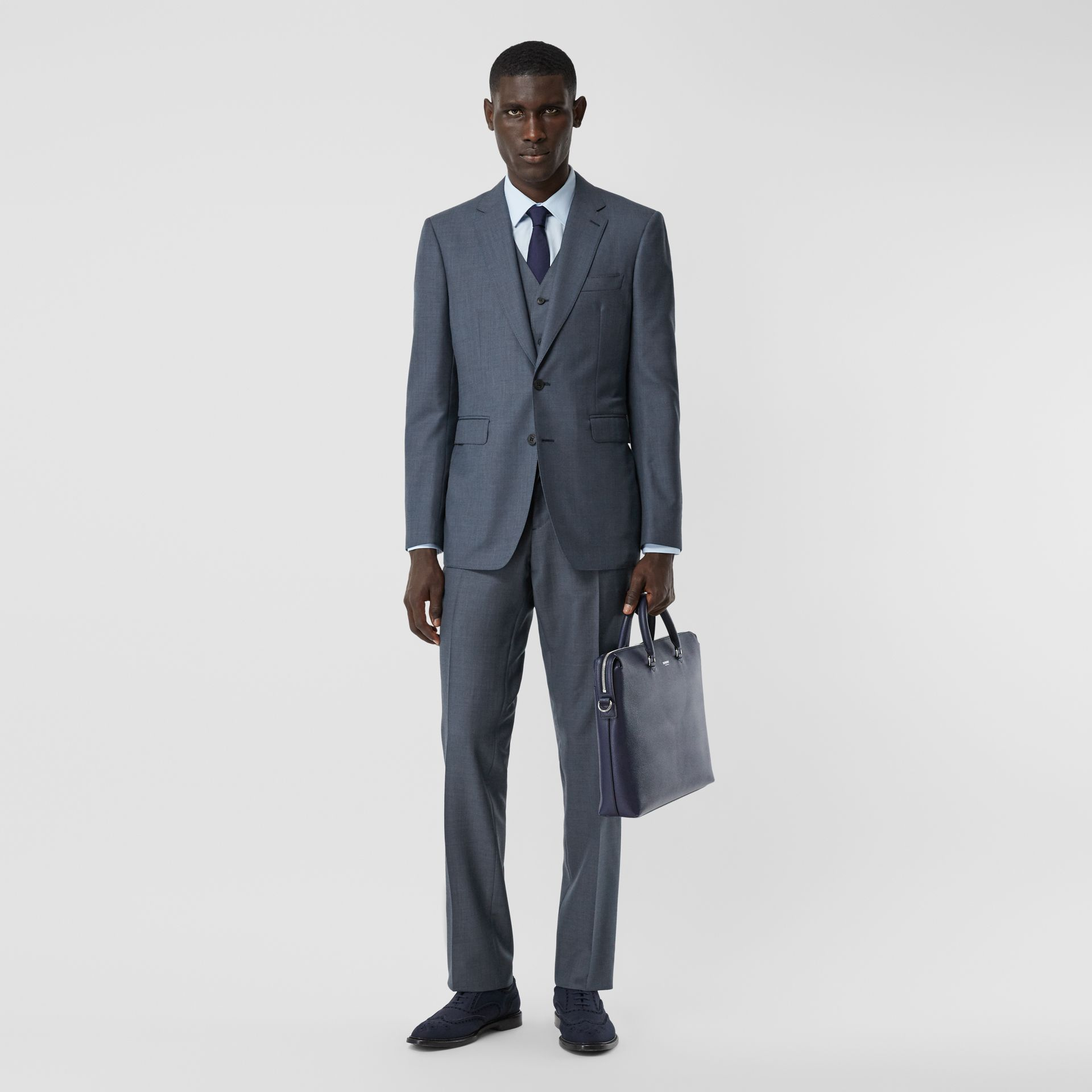 Classic Fit Wool Mohair Blend Three-piece Suit in Steel Blue - Men   Burberry United States - gallery image 0
