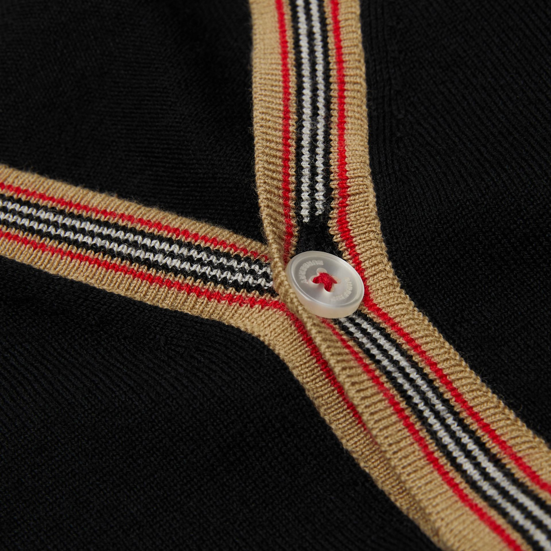 Icon Stripe Detail Merino Wool Cardigan in Black | Burberry United States - gallery image 1