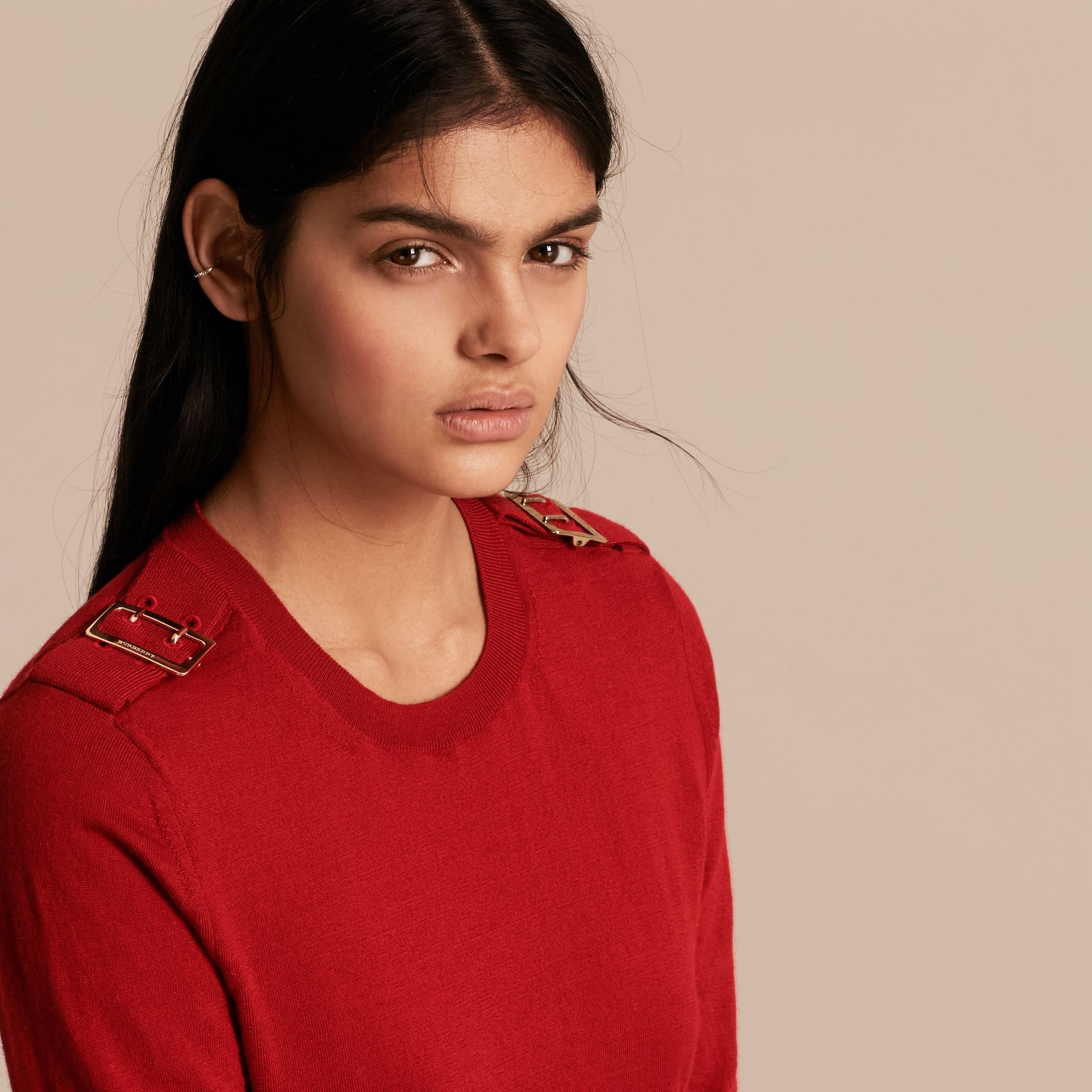 Buckle Detail Merino Wool Sweater in Parade Red - gallery image 5