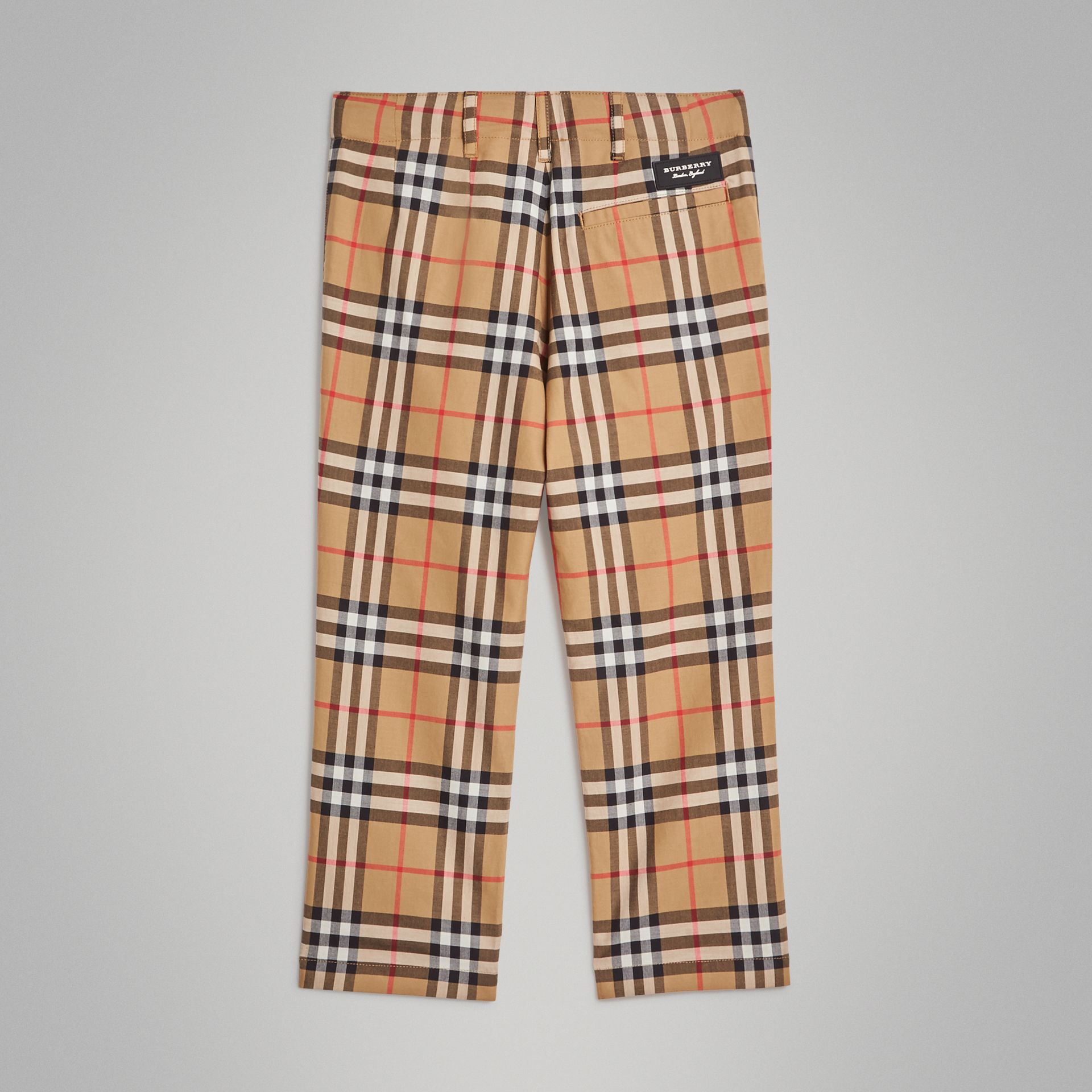 Vintage Check Cotton Tailored Trousers in Antique Yellow | Burberry - gallery image 3