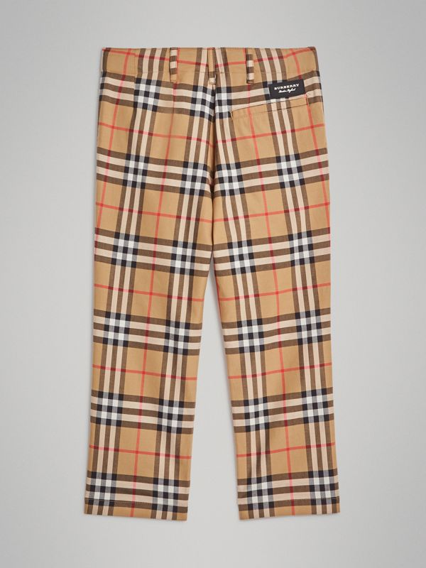Vintage Check Cotton Tailored Trousers in Antique Yellow | Burberry - cell image 3