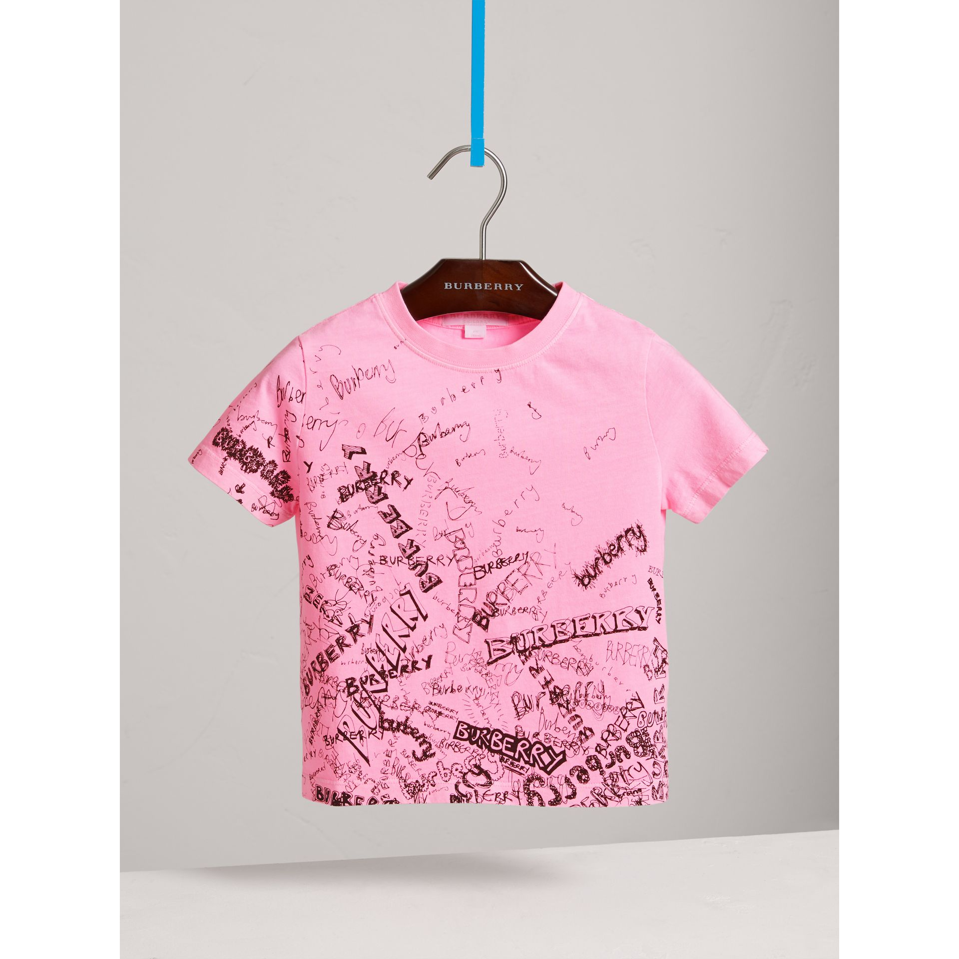 Doodle Print Cotton Jersey T-shirt in Bright Rose - Girl | Burberry - gallery image 2