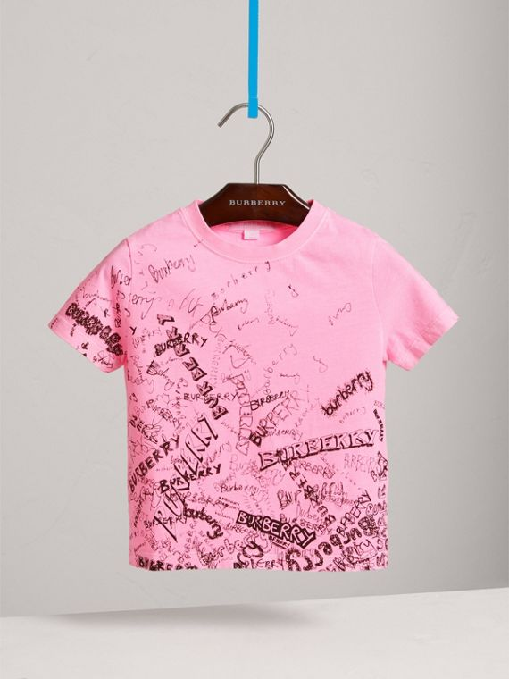 Doodle Print Cotton Jersey T-shirt in Bright Rose - Girl | Burberry United Kingdom - cell image 2