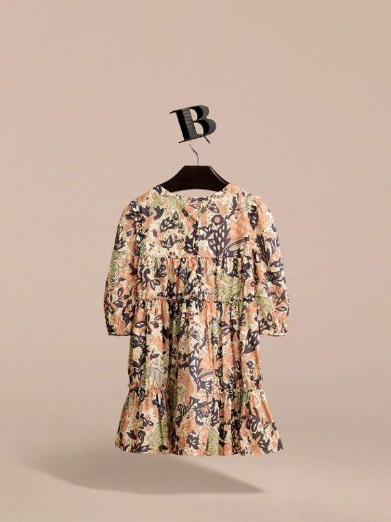 Beasts Print Cotton Gathered Dress in Antique Taupe Pink - Girl | Burberry Singapore - cell image 2