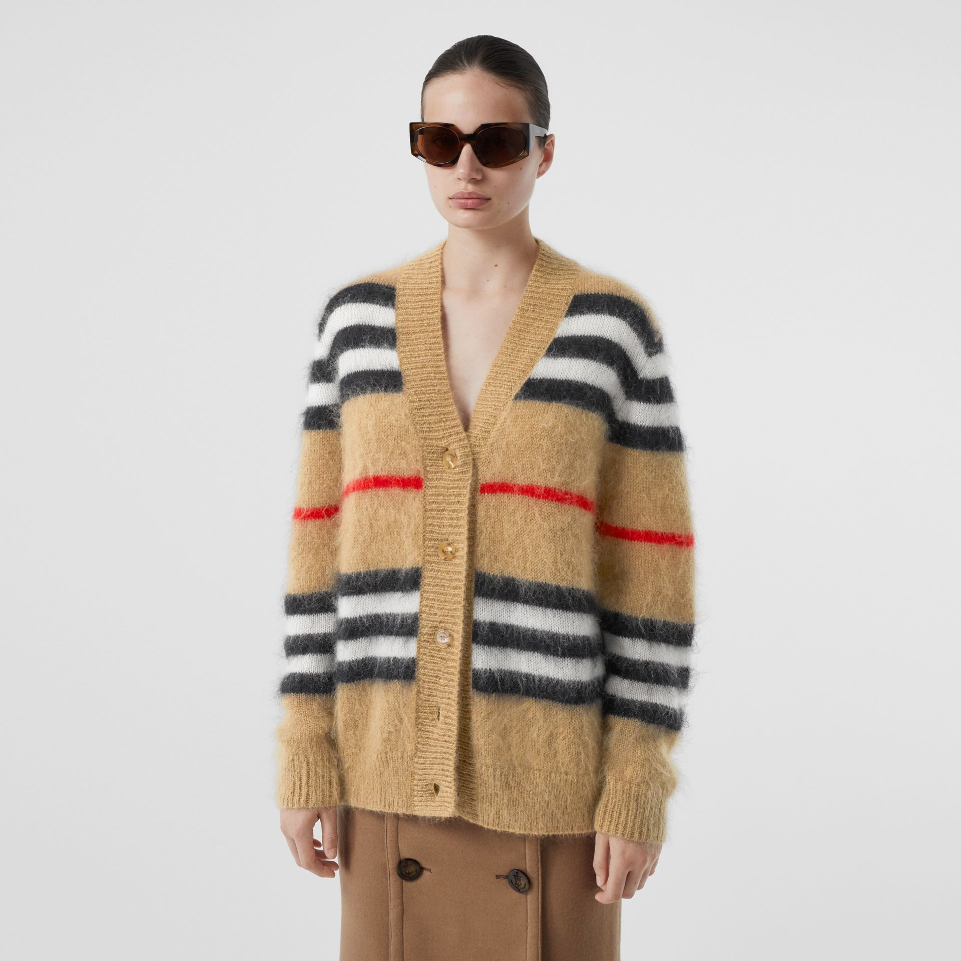 Icon Stripe Mohair Wool Blend Cardigan in Archive Beige - Women | Burberry - gallery image 0