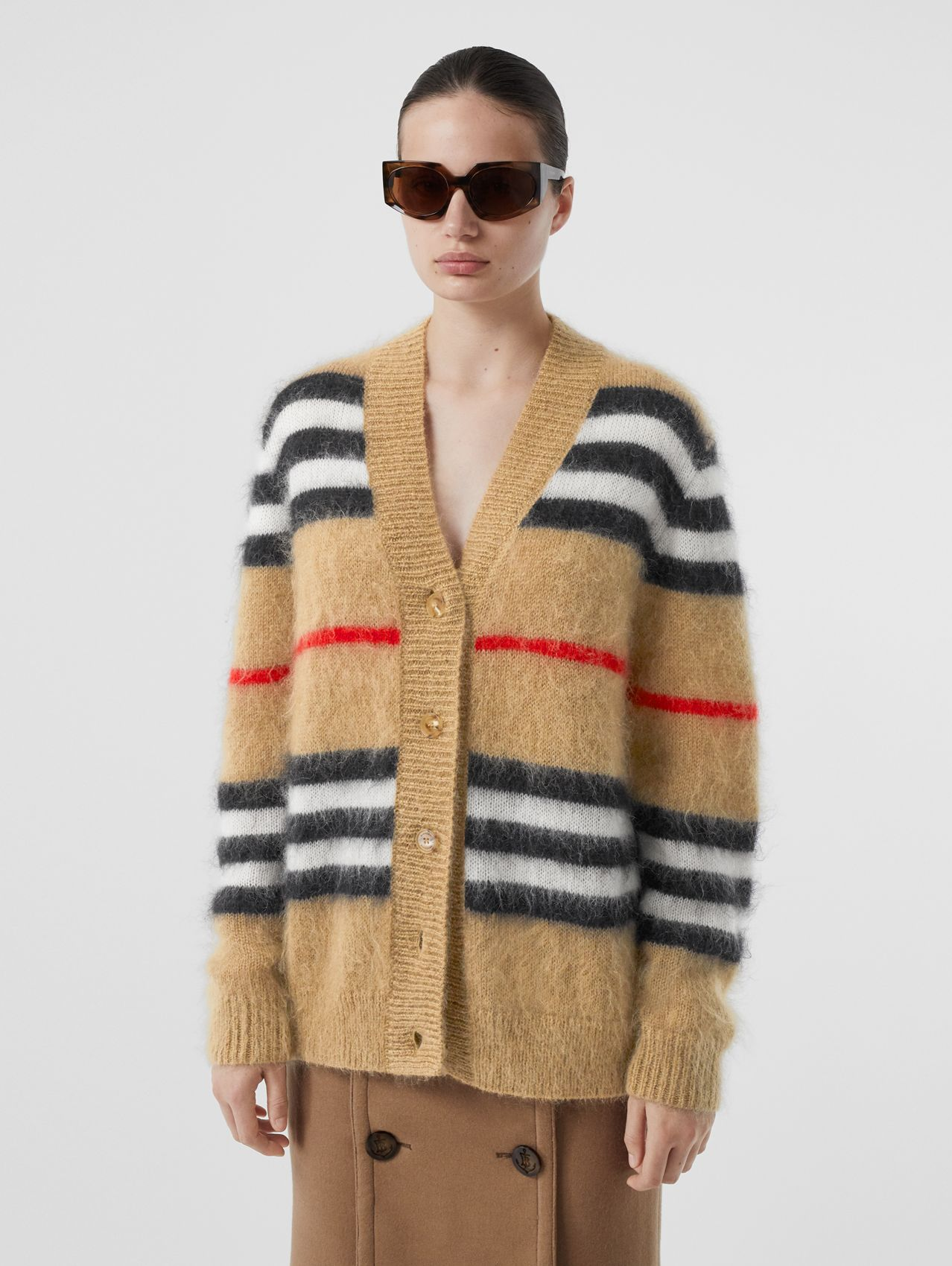Icon Stripe Mohair Wool Blend Cardigan in Archive Beige