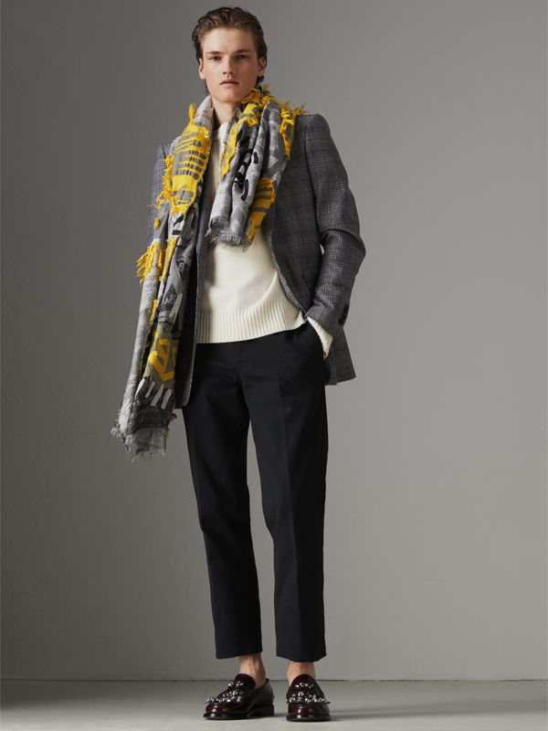 Graffiti Print Fil Coupé Cotton Wool Modal Scarf in Bright Yellow | Burberry - cell image 3