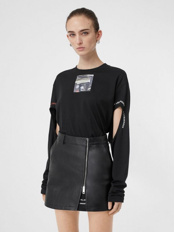 Cut-out Detail Montage Print Oversized Top in Black