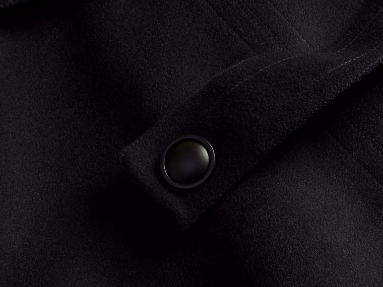 Navy Wool Cashmere Pea Coat with Bell Sleeves - cell image 1
