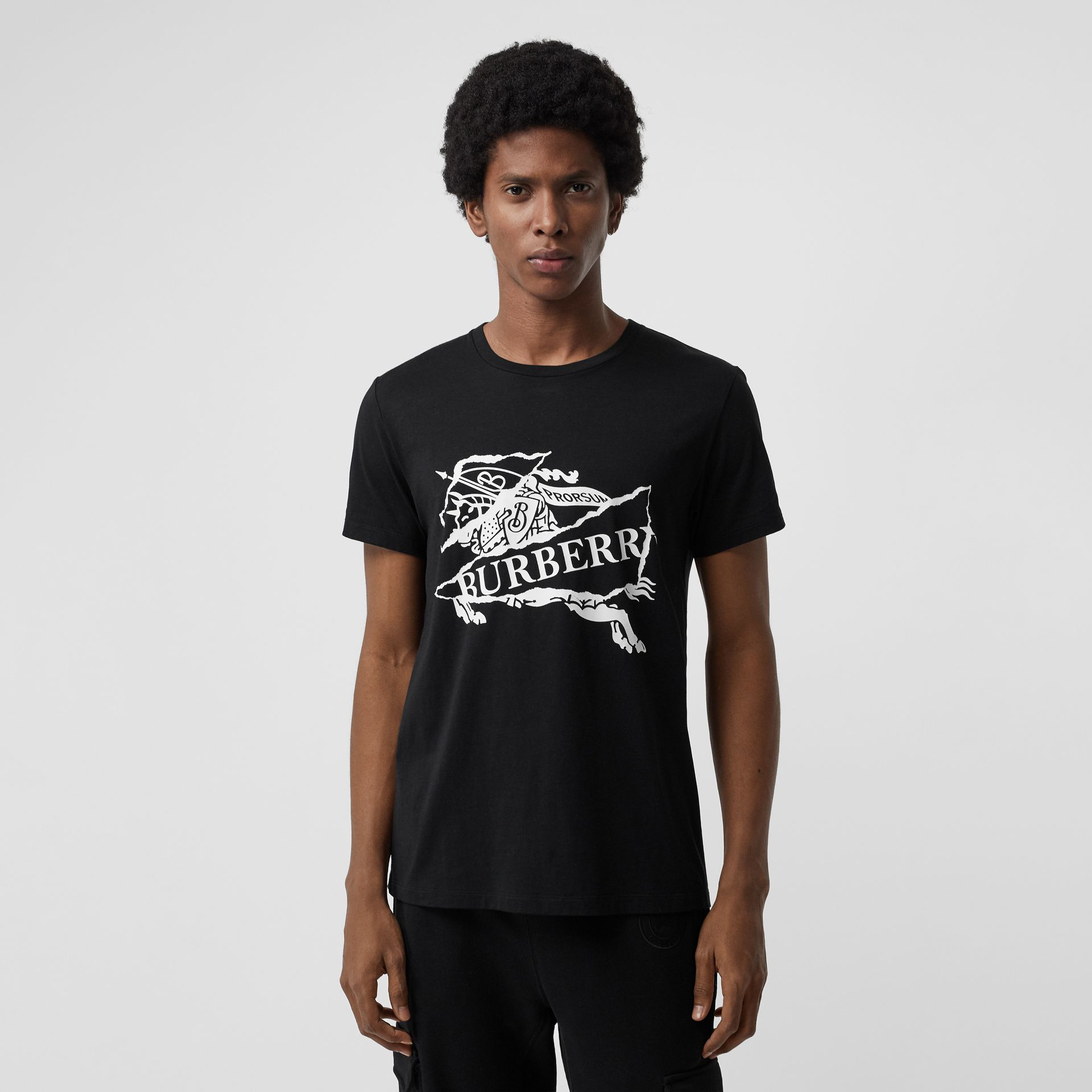 Collage Logo Print Cotton T-shirt in Black - Men | Burberry - gallery image 0