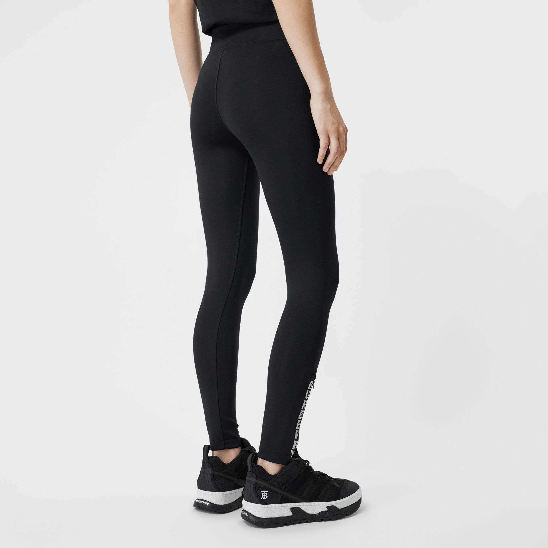 Logo Detail Stretch Jersey Leggings in Black - Women | Burberry - gallery image 2