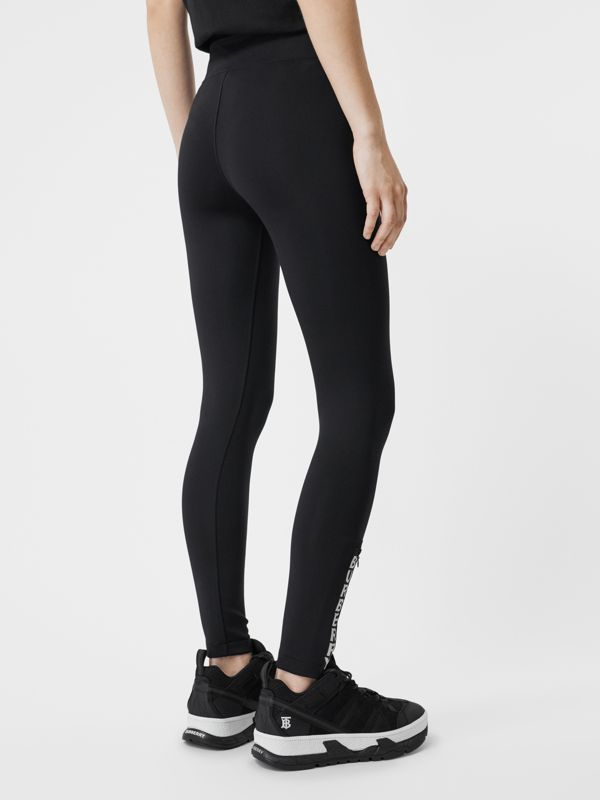 Logo Detail Stretch Jersey Leggings in Black - Women | Burberry United States - cell image 2