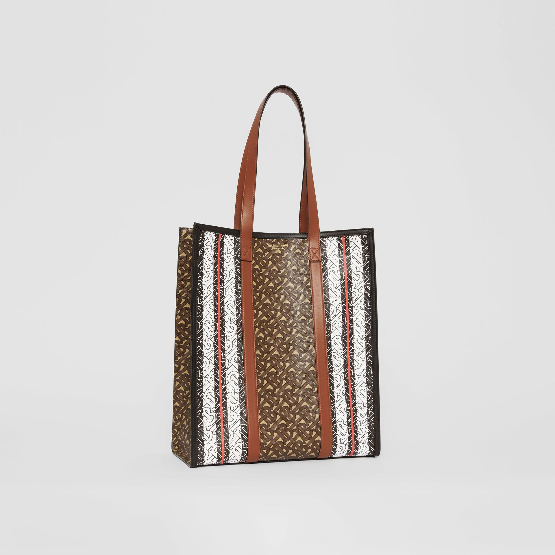 Monogram Stripe E-canvas Portrait Tote Bag in Bridle Brown | Burberry Singapore - gallery image 7
