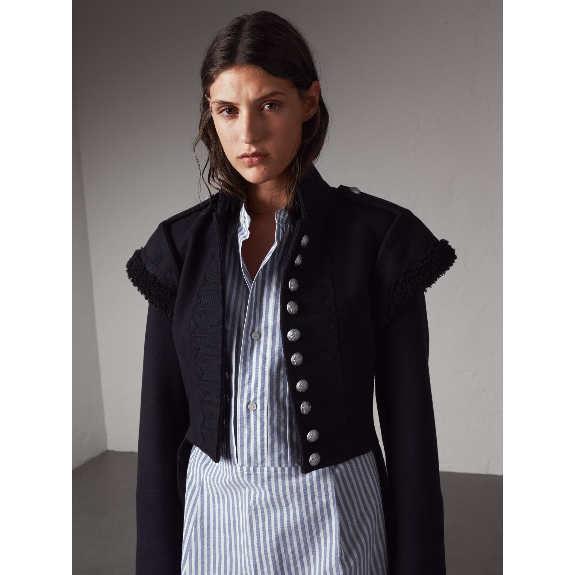 Shearling Trim Wool Blend Regimental Jacket in True Navy - Women | Burberry - gallery image 6
