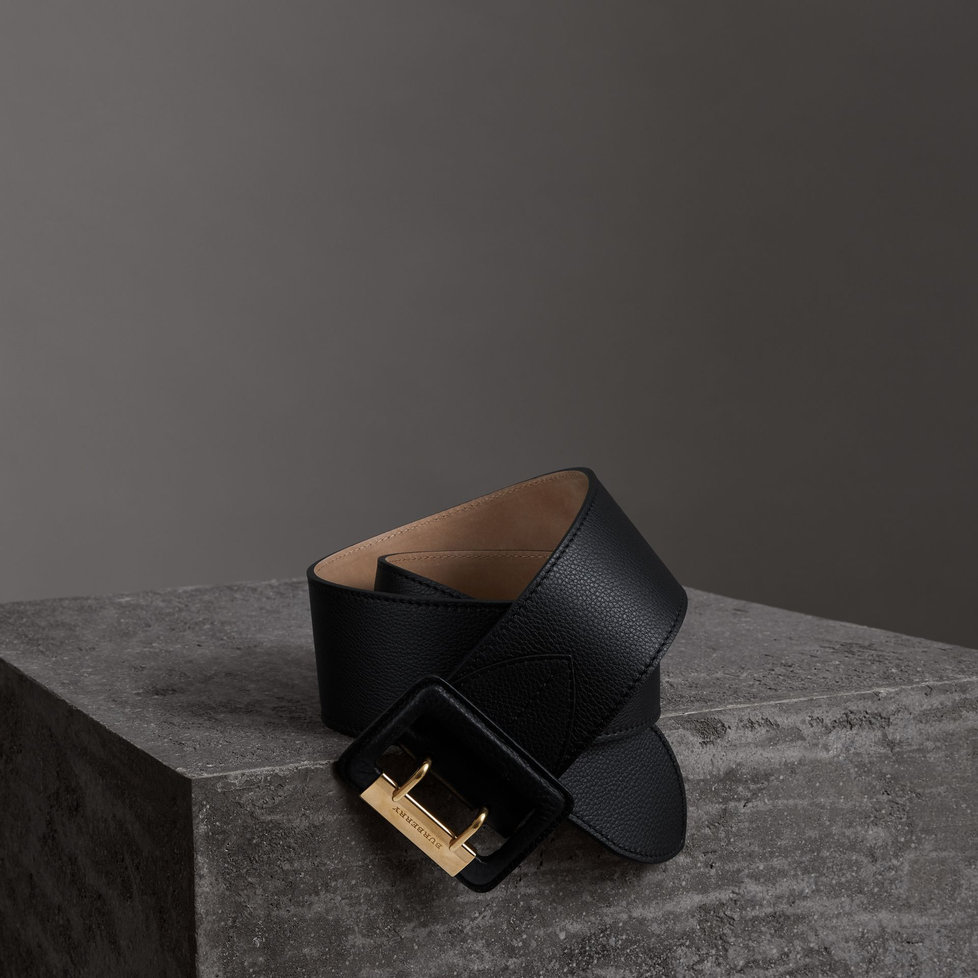 Double Pin Buckle Leather Belt in Black - Women | Burberry Australia - gallery image 0
