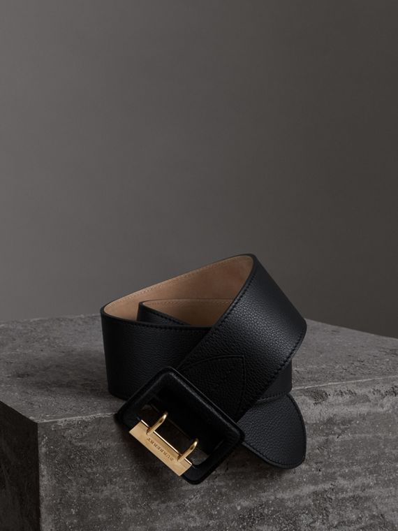 Double Pin Buckle Leather Belt in Black