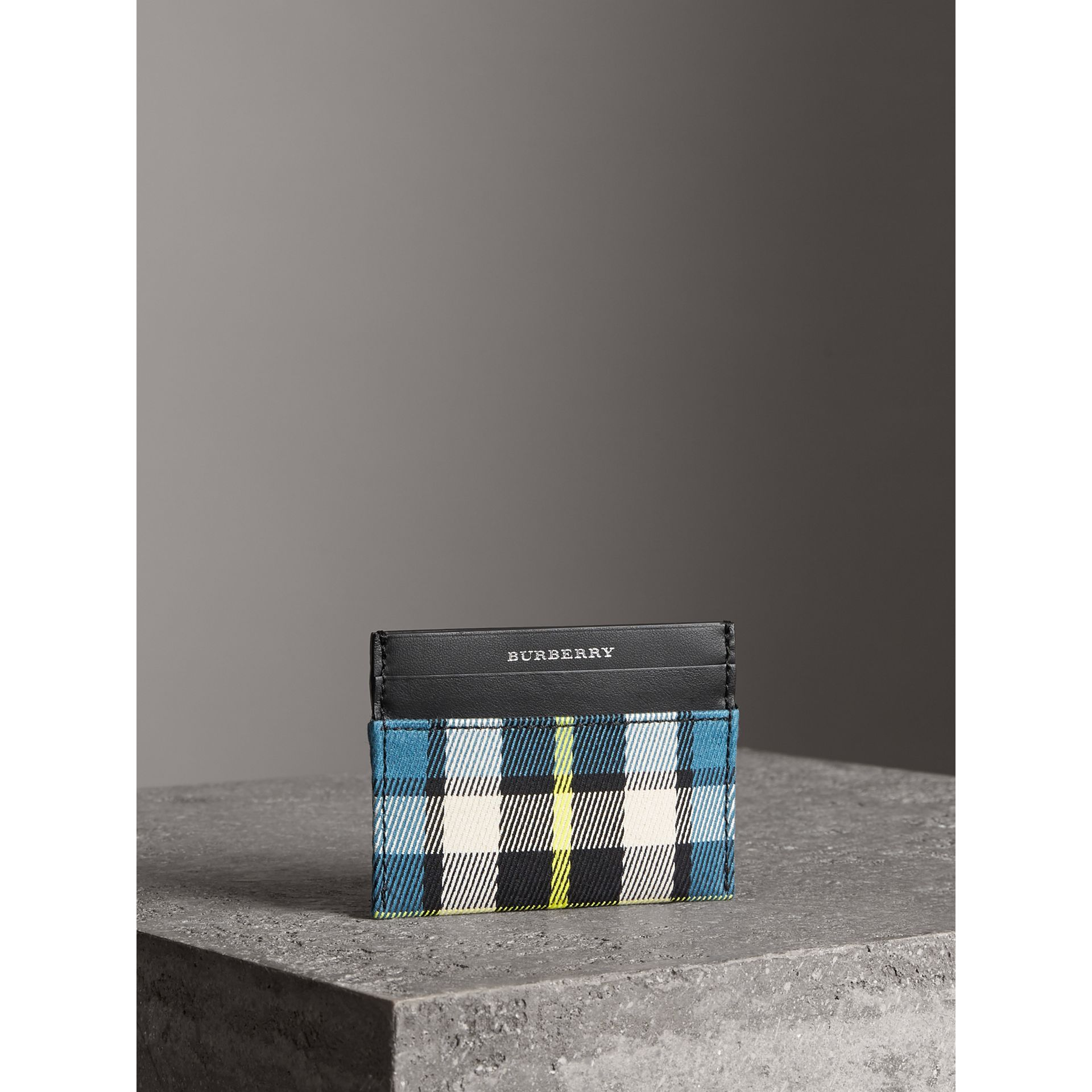 Tartan Check and Leather Card Case in Dark Blue/black | Burberry - gallery image 5