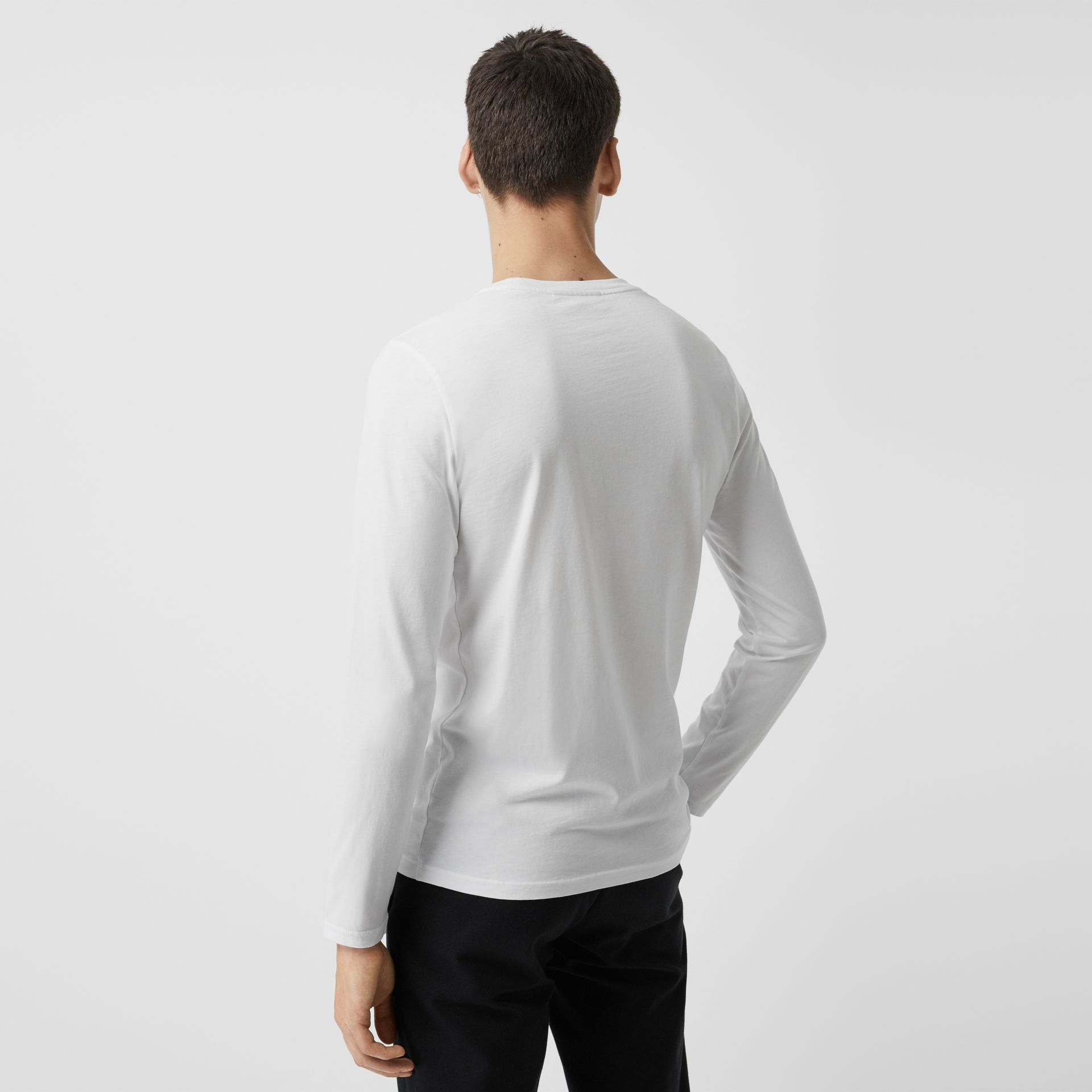 Long Sleeve Embroidered Logo Cotton T-shirt in White - Men | Burberry United States - gallery image 2