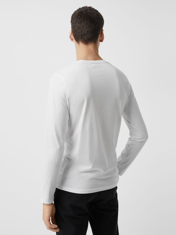 Long Sleeve Embroidered Logo Cotton T-shirt in White - Men | Burberry United States - cell image 2