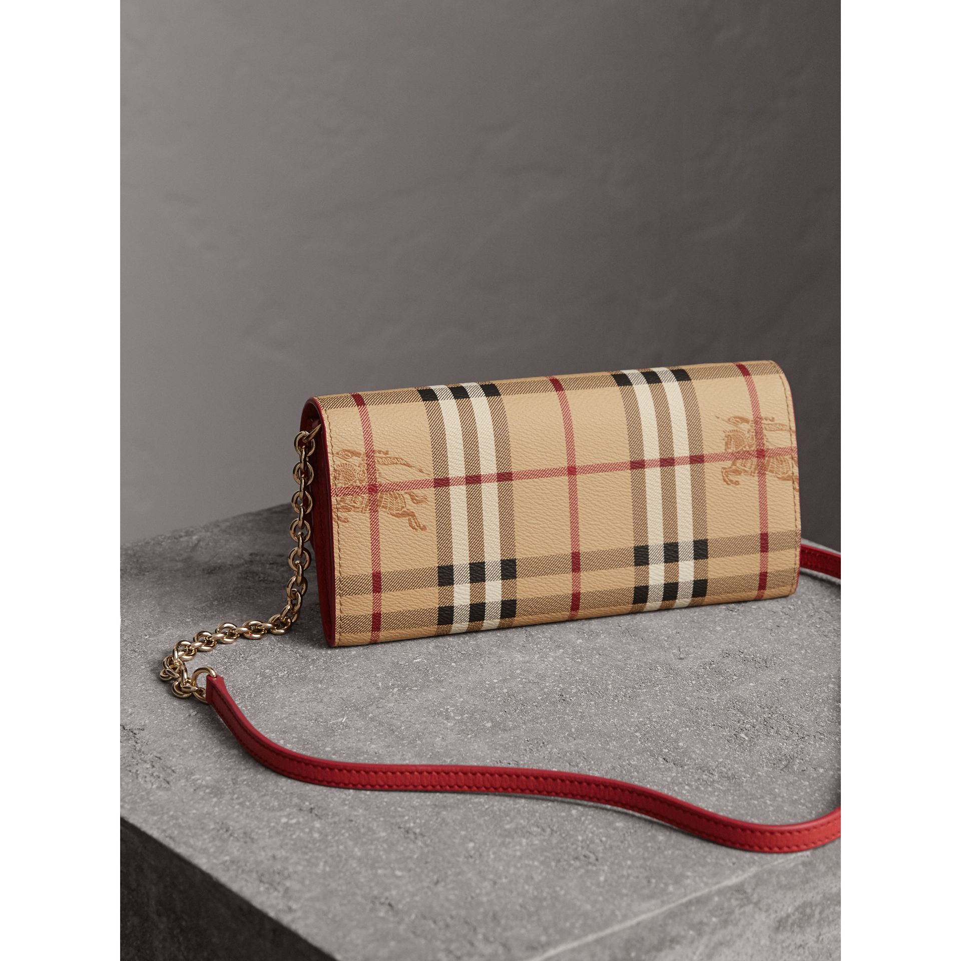 Leather Trim Haymarket Check Wallet with Chain in Coral Red - Women | Burberry Singapore - gallery image 5