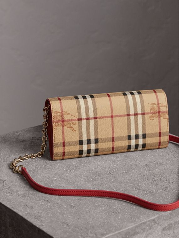 Leather Trim Haymarket Check Wallet with Chain in Coral Red - Women | Burberry - cell image 2