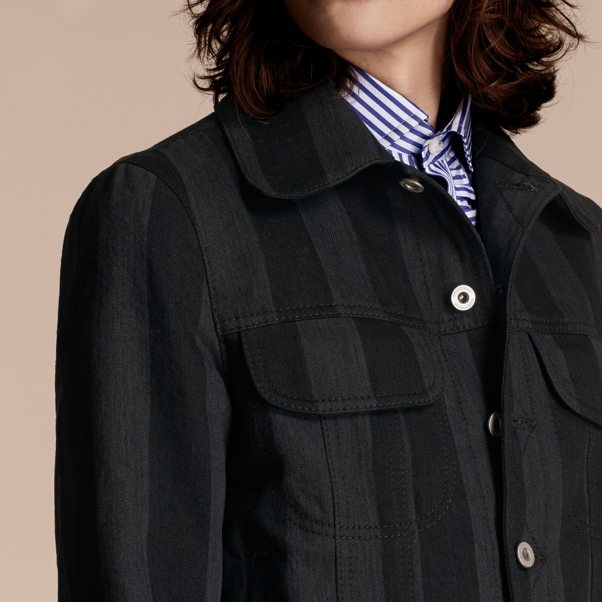 Black Striped Raw Denim Jacket - gallery image 5