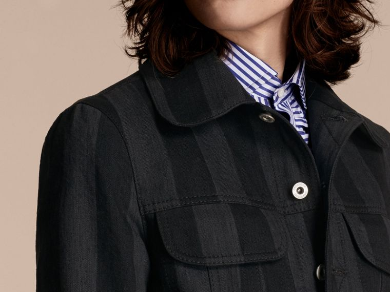 Black Striped Raw Denim Jacket - cell image 4