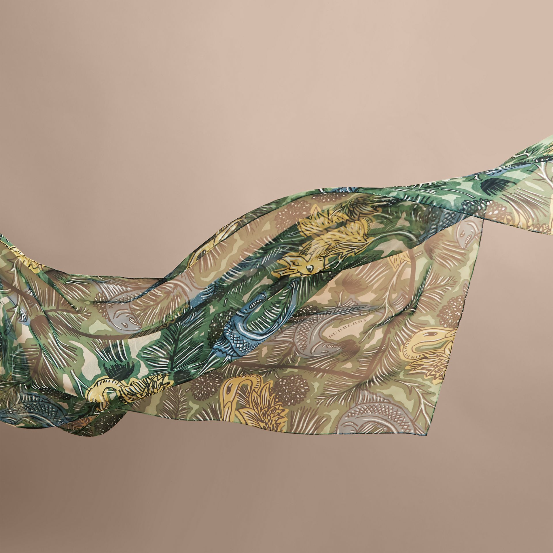 Beasts Print Lightweight Silk Scarf in Sage Green - Women | Burberry Australia - gallery image 4