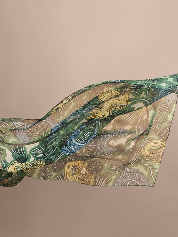 Beasts Print Lightweight Silk Scarf in Sage Green - Women | Burberry United Kingdom - cell image 3